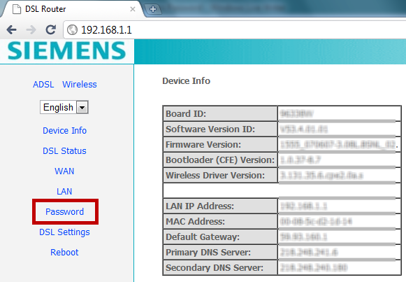 DSL Router settings page