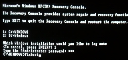 Fixboot command in Windows Xp recovery console
