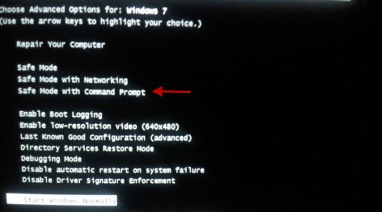 Start Windows7 in safe mode with Command prompt