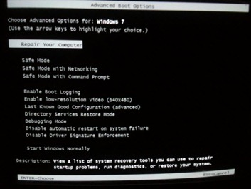 Windows7 advanced boot options