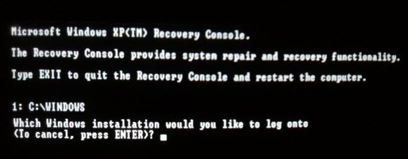 Using Windows XP recovery console