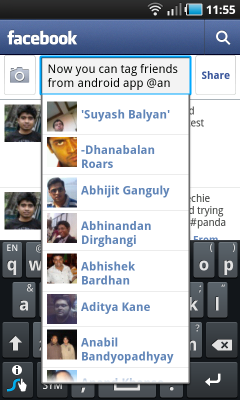 Tag Facebook friends in Android app