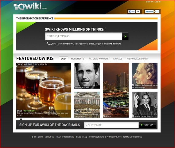 A Shot of Qwiki's Homepage
