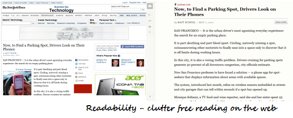 Format webpages for clutter free reading