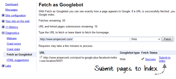 Submit pages to Google index