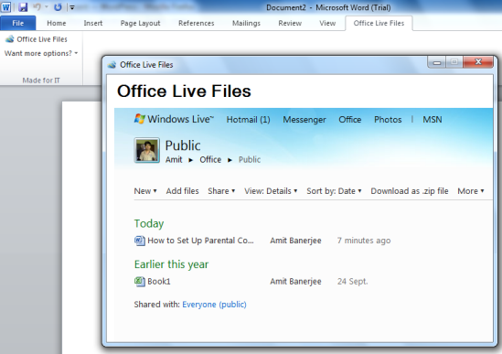 Edit Skydrive documents from Microsoft office