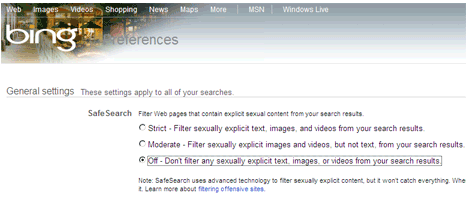 Enable or Disable Safe Search Filter on Bing.com - Restrict Porn Content