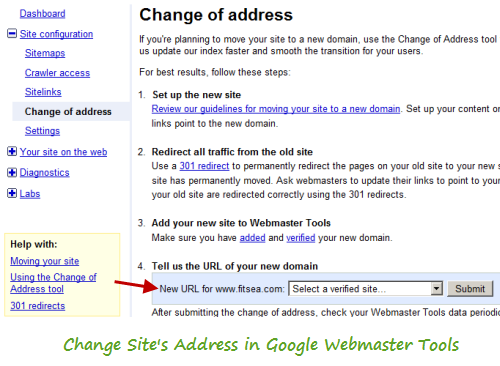 Change Site Address in Google Webmaster Tools