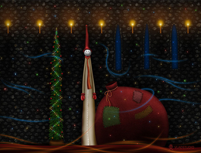 Christmas Wallpaper Of Candles And Crackers