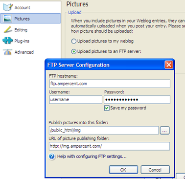 Configure WLW Ftp Settings