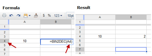 Convert Binary Number to Decimal in Google Docs Spreadsheets