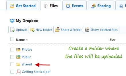 Create a shared folder in Dropbox to let other users upload files