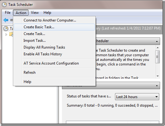 how to create task scheduler in windows 7