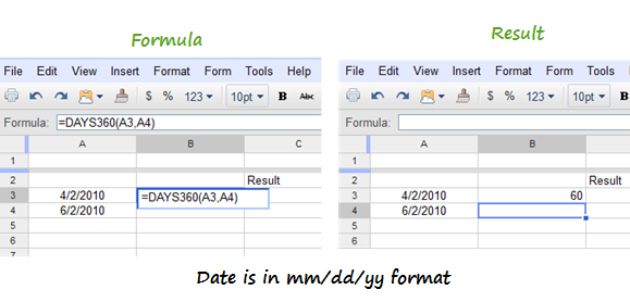 Formula for Difference Between Two Dates  in Google Docs