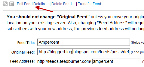 replace feed address with blogger feed in feedburner