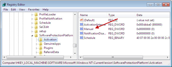 enable/disable auto-activation in windows 7 | registry hack
