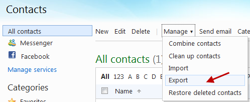 Export facebook friends email address to Windows Live hotmail