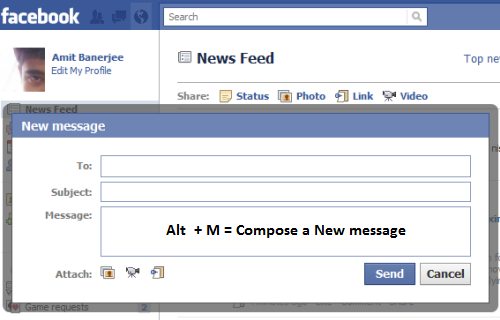 Facebook Create Message Keyboard shortcuts