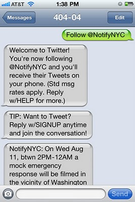 Twitter Fast Follow SMS Syntax