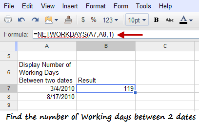Find the Number of Working Days and Holidays Between two dates in Google Docs