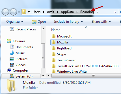 Find the dictionary location or folder for Firefox