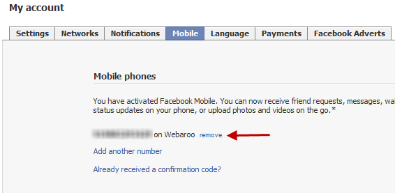Remove SMS messages from Facebook account