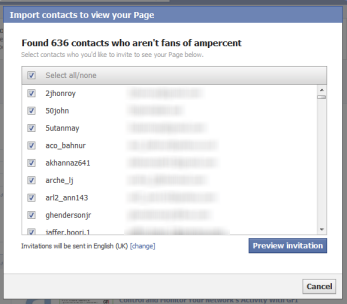 Import an email list to Facebook fan page