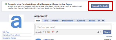 Import email list to facebook fan page
