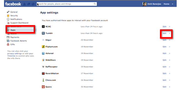 Remove specific application permissions from facebook