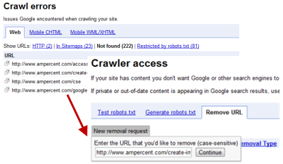 Remove and fix crawl errors in Google Webmaster Tools
