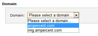 Select domain name to change MX records