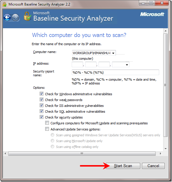 start-scan-microsoft-security-analyzer