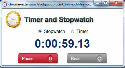 Stopwatch in Google Chrome