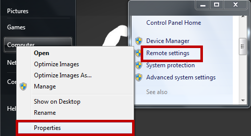 Turn On Remote desktop settings in Widnows7