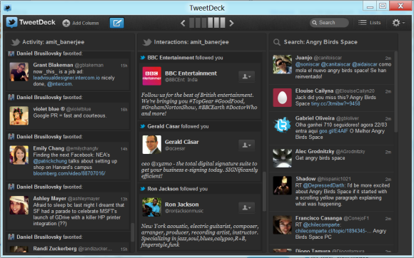 Activity and Interactions feed on TweetDeck desktop