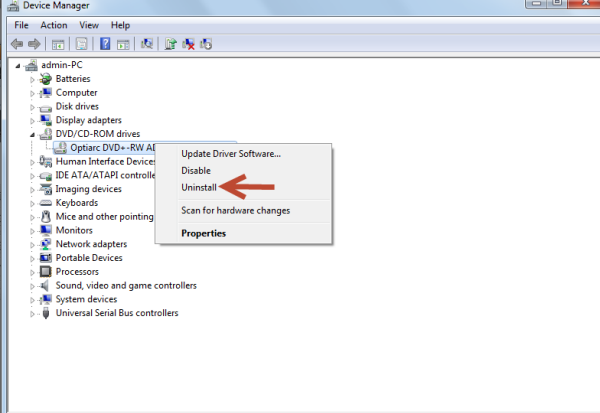 uninstall device device manager