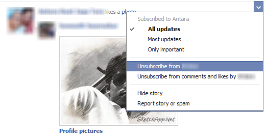 Unsubscribe from facebook friends