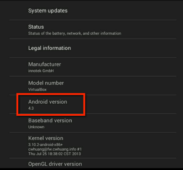 version_number_install android os on pc, mac or linux