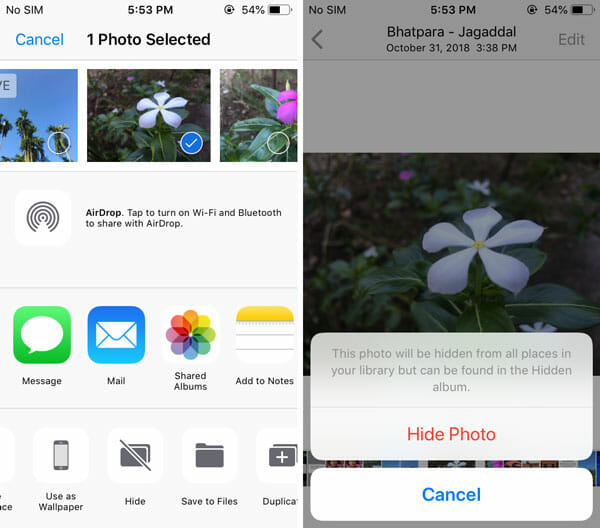 How to hide photo on iPhone
