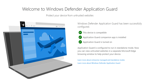 Windows Defender Application Guard browser extension
