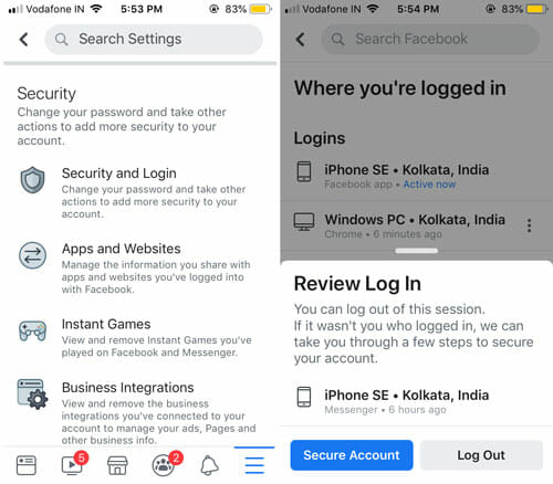 How To Log Out Of Facebook Messenger On iOS using Facebook app
