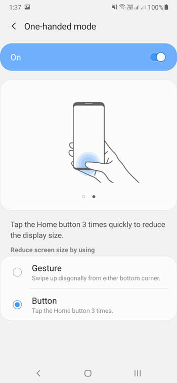 How To Activate One-Handed Operations In Samsung Mobile