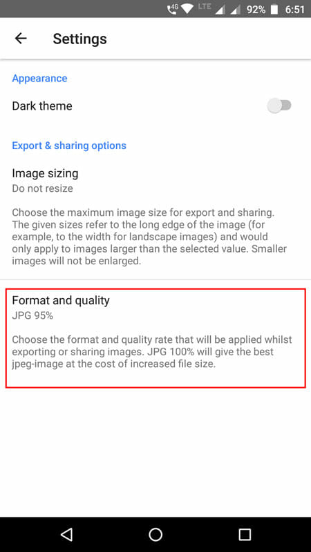 Change Photo Export Quality in Snapseed