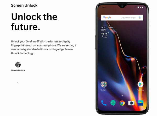 OnePlus 6T Under Display Fingerprint Scanner