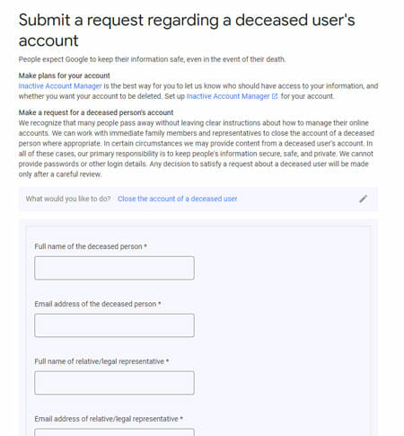 Delete Google Account of a Deceased Person
