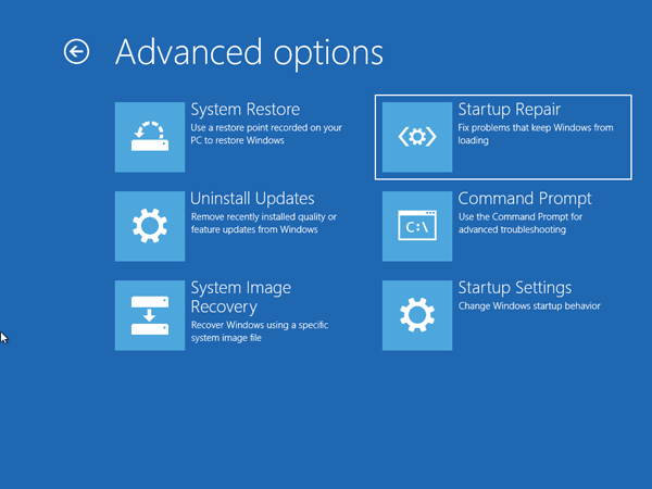 Startup Repair in Windows 10