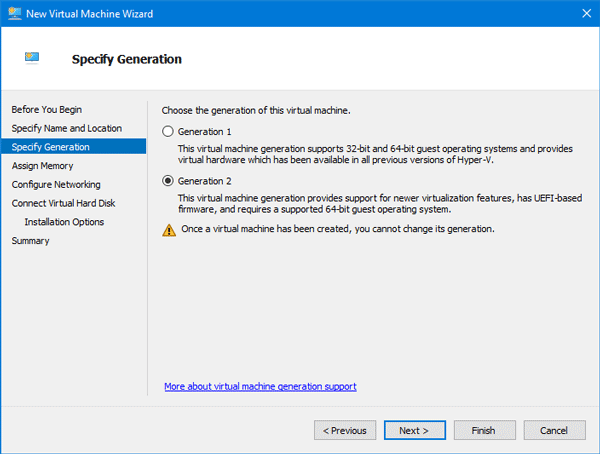 Create Virtual Machine using Hyper V in Windows 10