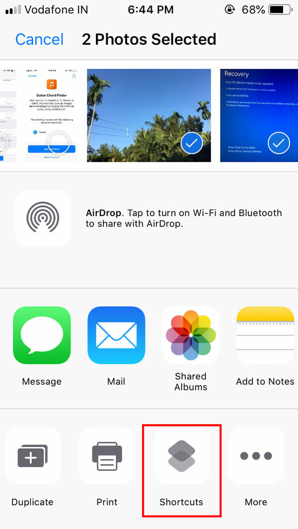 How to create Zip file on iOS using Shortcuts app