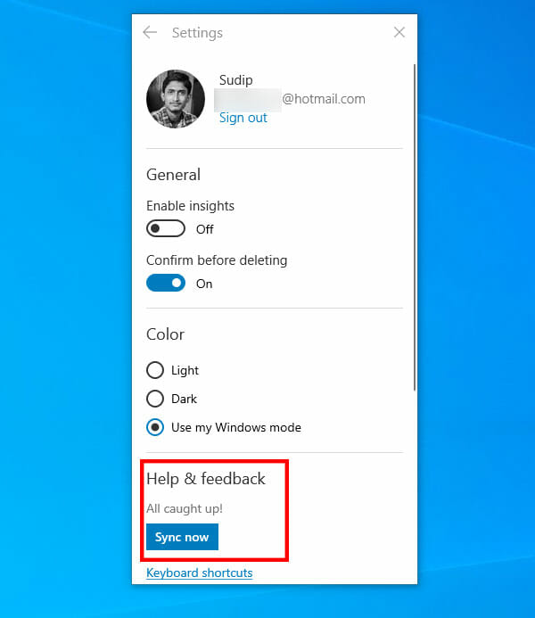 Synchronize Sticky Notes with microsoft account