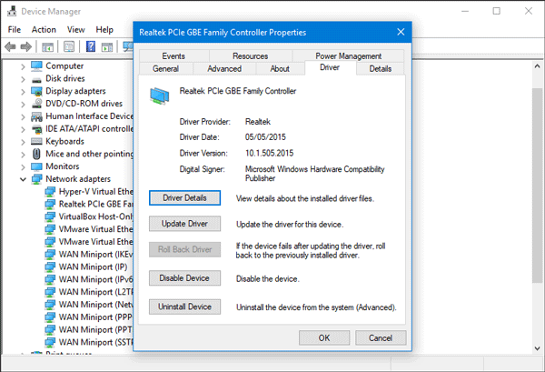 Uninstall Reset Network Driver in Windows 10